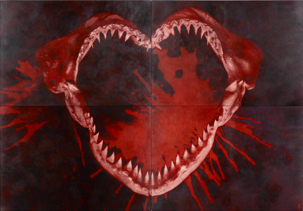 021115 - Evans, I Heart U, Hand etched by knife on leather, 250cm x 360cm, 2011