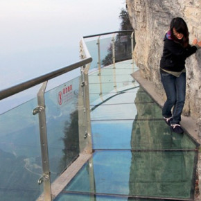 Glass Skywalk in Tianmen Mountain National Forest Park.