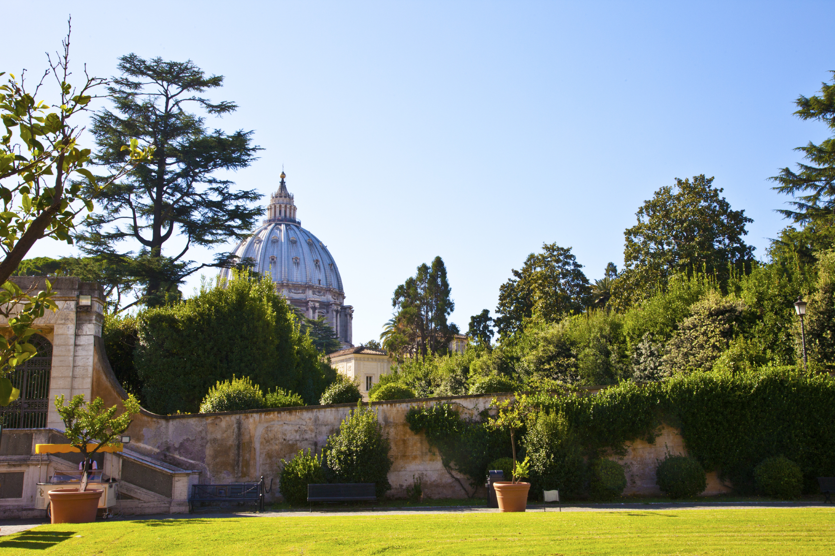 View at Saint Peter church from Vatican garden in Rome, Italy